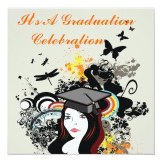"Retro Funk Butterfly & Dragonfly Girl Graduation 5.25"" Square Invitation Card"