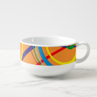 Retro Funky Circle Design Soup Bowl With Handle