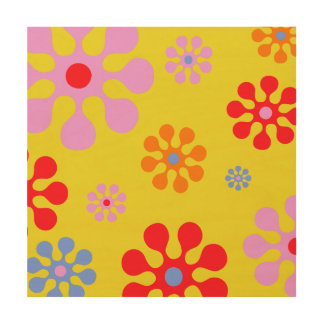 Retro Funky Flower Pattern Yellow Spring Wall Art Wood Canvas