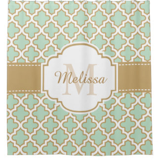 Retro Funky Moroccan Pattern Mint Green Monogram