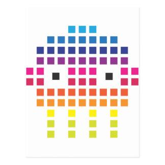 Retro Funky Pixel Skull Postcard