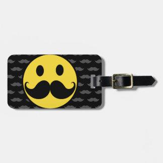 Retro Funky Smiley Mustache Moustache Luggage Tag