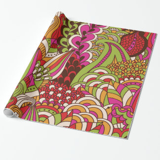 Retro Funky Trendy Pattern Wrapping Paper