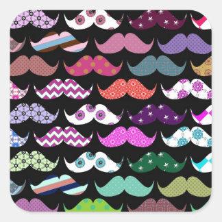 Retro Funny Girly Mustache Moustache Pattern Square Stickers