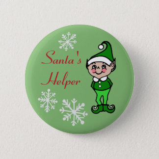 Retro Funny Holiday Christmas Elf Button Pin