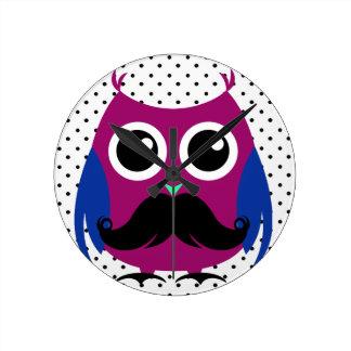 Retro Funny Owl with Handlebar Mustache Wallclock