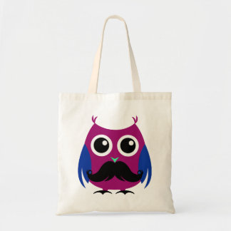 Retro Funny Owl with Handlebar Mustache Tote Bag
