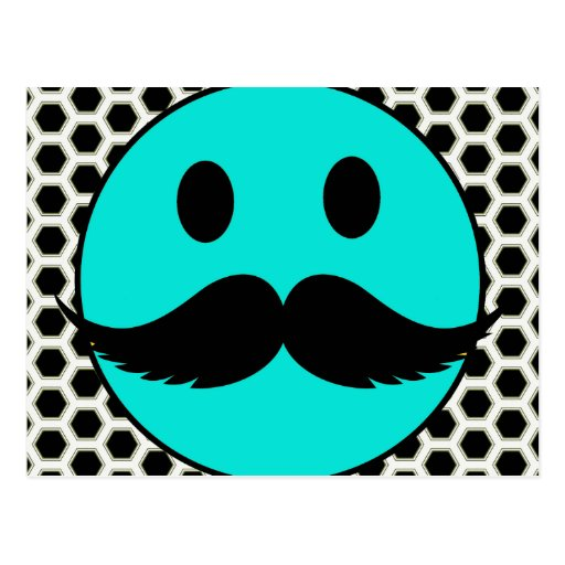 Retro Funny Smiley Face with Mustache Stache Post Card