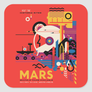 Retro Futuristic Mars Tourism Illustration Square Sticker