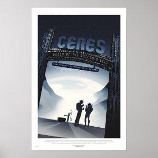 Retro Futuristic Travel Poster - Ceres