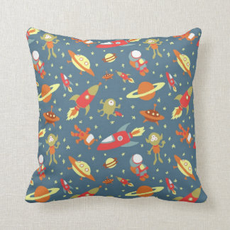 Retro Galaxy Outer Space Rockets & Astronauts Throw Pillow