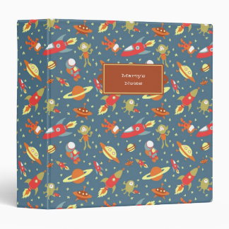 Retro Galaxy Outer Space Rockets & Astronauts Vinyl Binder