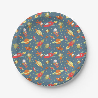 Retro Galaxy Outer Space-themed Party Paper Plate