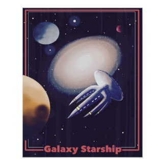 "Retro ""Galaxy Starship"" Poster"