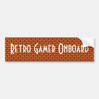 Retro Gamer on Board, Orange 8-Bit Brick Car Bumper Sticker