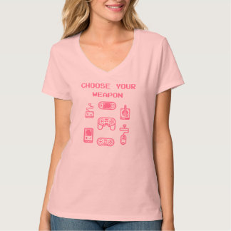Retro Gaming T-shirt: Choose Your Weapon Pink T-Shirt