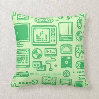 Retro Gaming Throwing Pillow Kelly Green