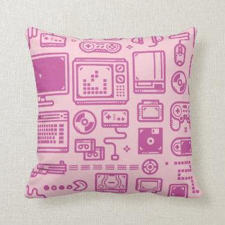 Retro Gaming Throwing Pillow Pink & Purple