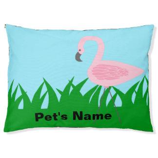 Retro Garden Flamingo with Name Pet Bed