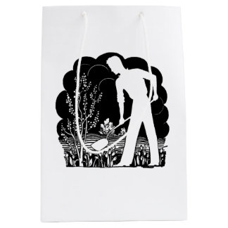 Retro Gardener Silhouette Medium Gift Bag