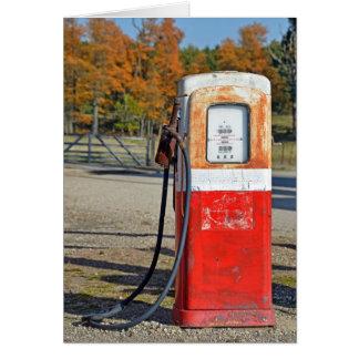 retro gasoline pump for getting older birthday card
