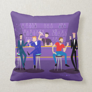 Retro Gay Bar Throw Pillow