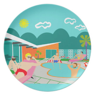 Retro Gay Pool Melamine Plate