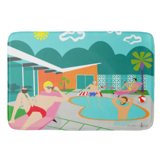 Retro Gay Pool Party Bath Mat