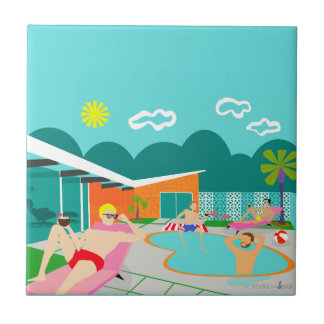 Retro Gay Pool Party Ceramic Tile