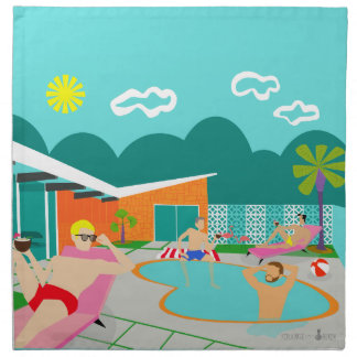 Retro Gay Pool Party Cloth Napkins