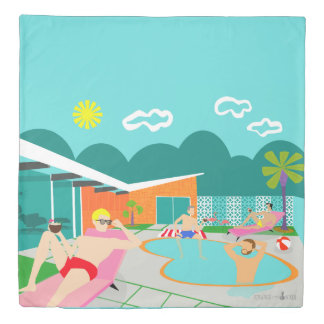 Retro Gay Pool Party Duvet Cover