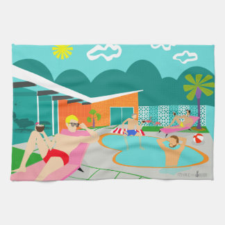 Retro Gay Pool Party Kitchen Towel