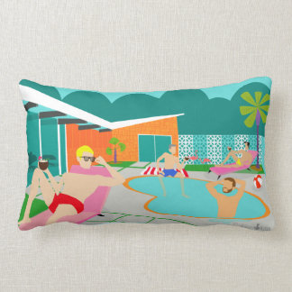 Retro Gay Pool Party Lumbar Pillow
