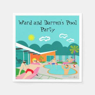 Retro Gay Pool Party Paper Napkin