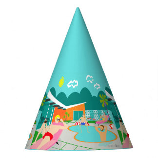 Retro Gay Pool Party Party Hat