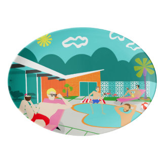 Retro Gay Pool Party Porcelain Platter