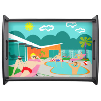 Retro Gay Pool Party Serving Tray