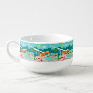 Retro Gay Pool Party Soup Mug