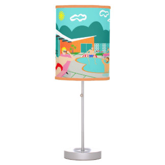 Retro Gay Pool Party Table Lamp
