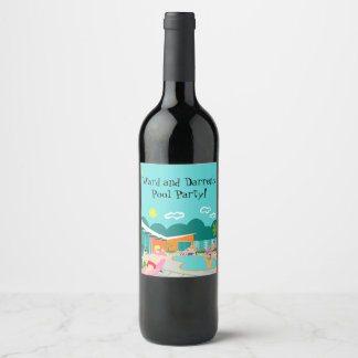 Retro Gay Pool Party Wine Bottle Label