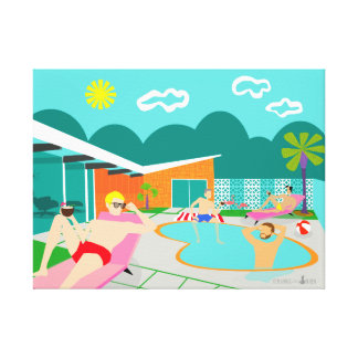 Retro Gay Pool Party Wrapped Canvas Print