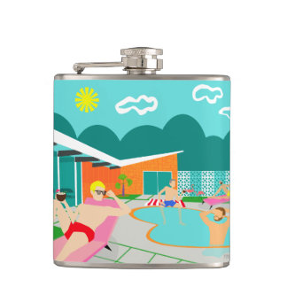 Retro Gay Pool Party Wrapped Vinyl Flask
