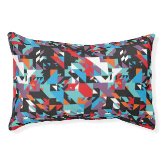 Retro Geometric Abstract Pattern Small Dog Bed