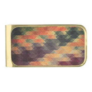 Retro Geometric Bold Stripes Worn Colors Gold Finish Money Clip
