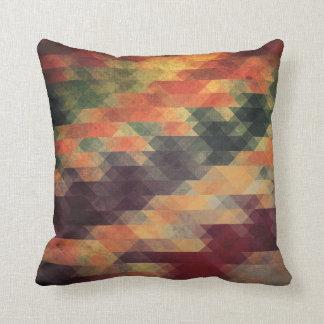 Retro Geometric Bold Stripes Worn Colors Throw Pillow