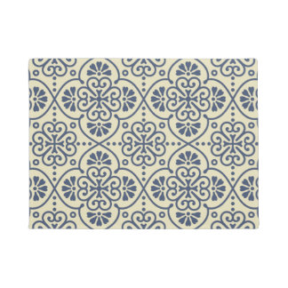 Retro geometric floral ornamental pattern doormat