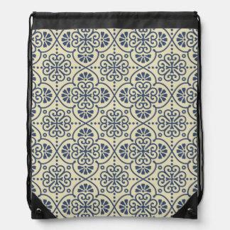 Retro geometric floral ornamental pattern drawstring bag