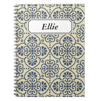Retro geometric floral ornamental pattern notebooks