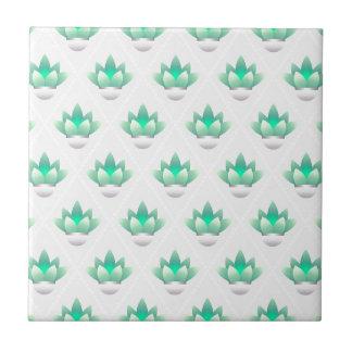 Retro Geometric Green Leaves Pattern Tile