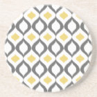 Retro Geometric Ikat Yellow Grey Pattern Coaster